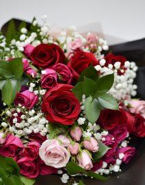 Ramo rosas + minirosas detalle