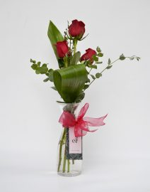 florero 3 rosas rojas